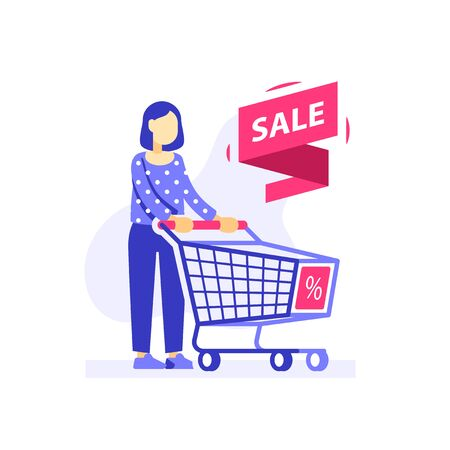 Woman with empty shopping cart, special offer, sale or discount store, consumer person, vector flat illustration Illustration