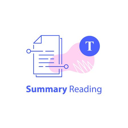 Summary reading, short article, content writing, storytelling course, copyright concept, contract terms and conditions, legal papers, vector line icon
