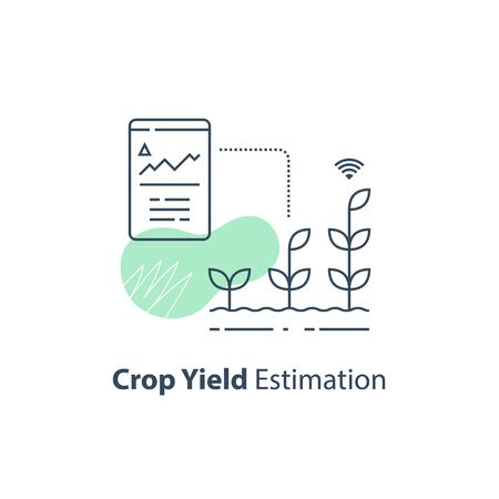 Crop data report, soil condition control, yield estimation chart, smart automation, modern agriculture technology, agritech concept, harvest improvement, agricultural efficiency, vector line icon