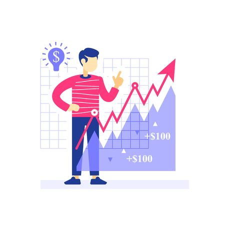 Successful investor, growth arrow, investment strategy, stock market portfolio, revenue increase, earn more, financial management, hedge fund, asset allocation, vector flat illustration