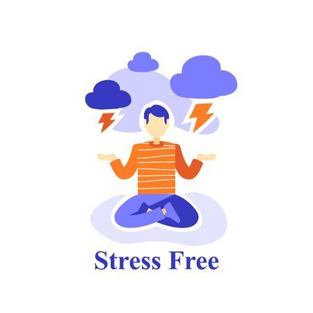 Man meditating practice, stress free, emotion control, suppress bad feelings, mental health, positive thinking, lotus pose yoga, self consciousness, life balance, vector flat illustration
