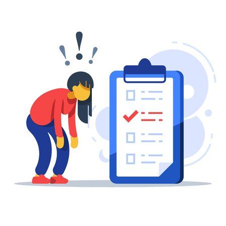 Surprised woman, to-do list, checklist assignment, task management, procrastination concept, low test score, vector flat illustration