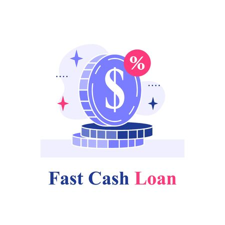 Fast cash loan, coins stack, financial solution, micro lending, easy money, finance provision concept, currency exchange, vector flat illustration  イラスト・ベクター素材