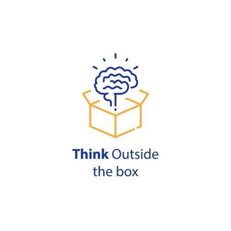 Brain and open box, creativity improvement, think outside the box, cognitive development, vector line icon