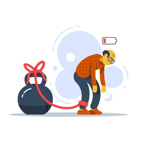Chronic tired old man with crooked back, heavy legs, difficult walking, male character feeling weak, low energy state, physical fatigue, bad health symptom, pensioner struggling, vector illustration