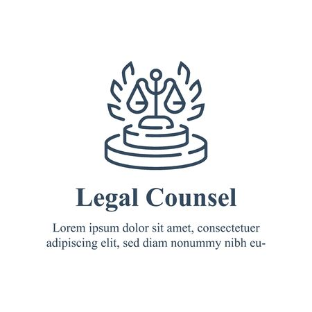 Lawyer or advocate firm, law services, legal councilor, court procedure, vector line icon