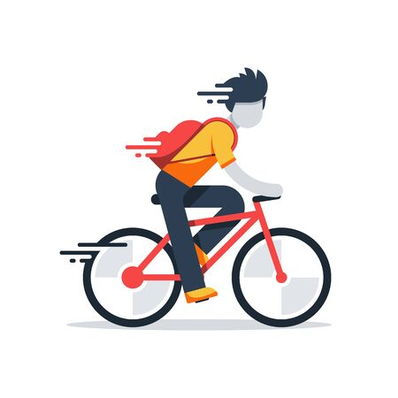 Person on bicycle, fast riding, delivery boy, vector flat illustration Vektorové ilustrace