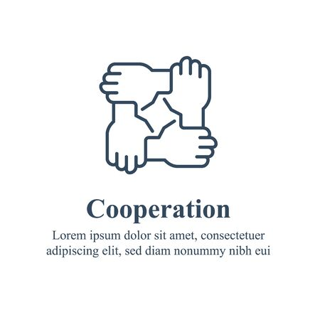 Team work, cooperation or collaboration, unity or trust, partnership concept, employee engagement, hold hands in circle, common ground, volunteer organization, social issue, company culture, line icon Illustration