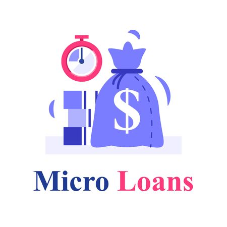 Fast cash and stopwatch, small loans, borrow money, pay back later, postpone payment, return financial debt, micro lending, finance provision, vector flat illustration 向量圖像