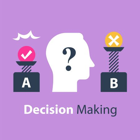 Decision making under uncertainty, pros and cons, for and against, outweigh scale, bias and mindset, positive or negative, between two sides, control test, vector flat illustration