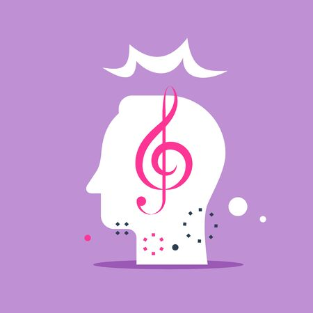 Music key and head, musicality improvement, vocal class, creative mind, composing song, vector flat illustration Çizim
