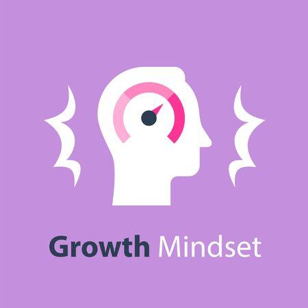 Growth mindset, potential development, fast self improvement, soft skills training, boost efficiency, fast decision making, vector flat illustration