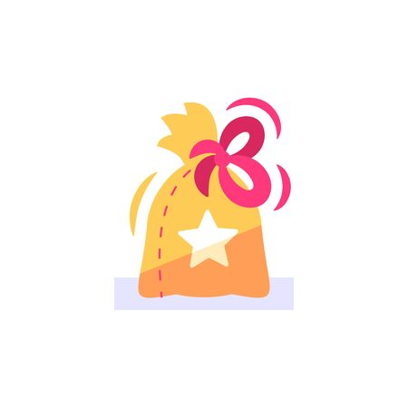 Surprise gift bag, loyalty reward, earn points and redeem special present, lottery super prize, giveaway concept, incentive program, promo offer, vector flat icon
