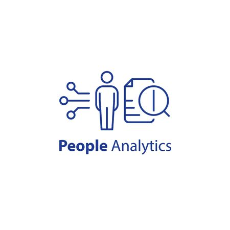People analytics concept, personal data processing, resignation prediction, performance assessment, human resources, employee measurement, automation system, vector line icon