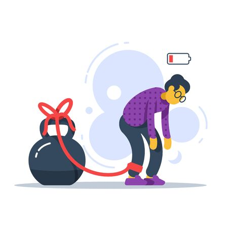 Chronic tired old woman with crooked back, heavy legs, difficult walking, feeling weak, low energy state, physical fatigue, bad health symptom, pensioner struggling, vector flat illustration