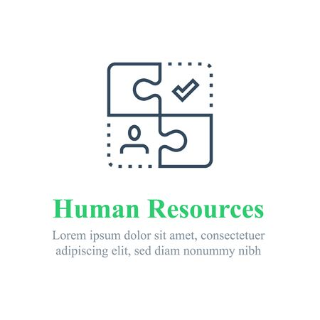 Human resources concept, recruitment agency, job retraining, employee replacement, choose candidate, vector line icon