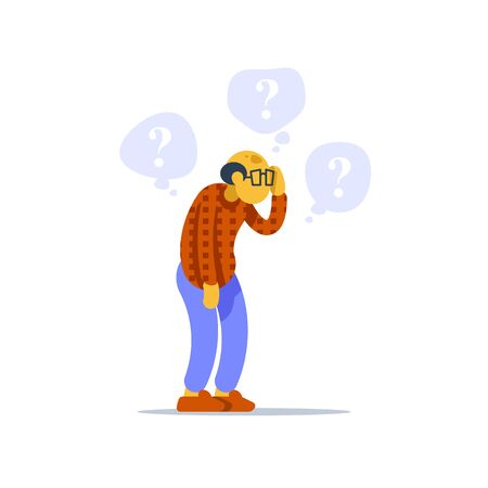 Old man standing and thinking, concerned senior person, question mark bubble, scratching head, worried about problem, difficult choice, vector flat illustration