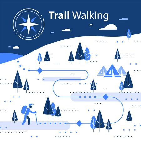 Winter hiking map, snow forest trail, running or cycling path, orienteering game, white landscape with hills and trees, base camp tents, wind circle, vector flat design illustration Vettoriali