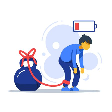 Tired man tied to kettlebell, exhausted person, male character feeling powerless, low energy state, physical or emotional burnout, mental fatigue, responsibility overload, stuck in problems