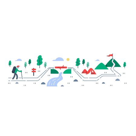 Person trail walking, mountain ascent, summer camping and hiking, outdoor trekking, nature tourism, wild adventure, vector flat illustration
