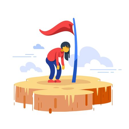 Woman stuck in progress, loss of motivation, self growth, never give up, high goals achiever, perfectionist anxiety, imposter complex, way to success, excessive hope, vector flat illustration