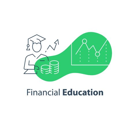 Financial education concept, stock market analysis and investment course, long term strategy adviser, trust management, vector line icon Vettoriali