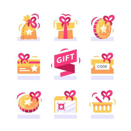 Loyalty gift, reward for purchase, earn points and redeem special present, lottery prize, giveaway concept, incentive program, promo offer, vector icon set, flat illustration