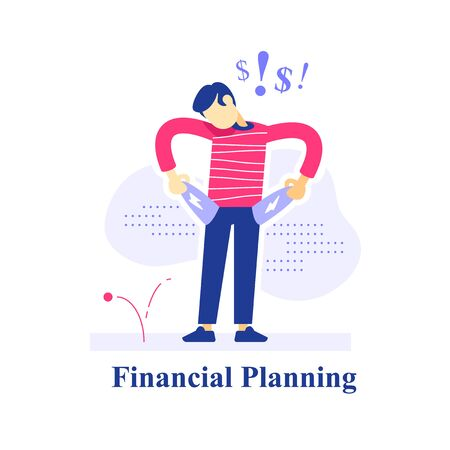 Surprised person with empty pockets, financial loss problem, no money left, high expenses, budget plan, low income, investment risk, debt payment, unexpected situation, vector flat illustration