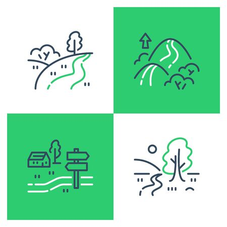 Outdoor landmarks, nature sites, recreational park, summer trail walking, hiking or trekking, ecological path, vector line icon set