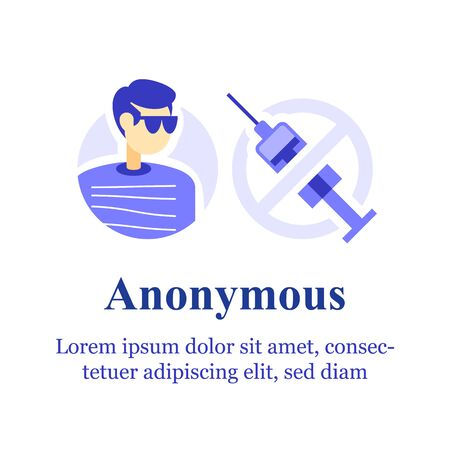 Anonymous help, drug addiction rehabilitation program, recovery course and support, substitutive medication therapy program, anonymity guarantee, person with sunglasses and barred syringe