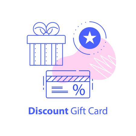 Gift box and discount card, loyalty program, earn points, redeem gift, shopping coupon concept, vector line icon Illustration