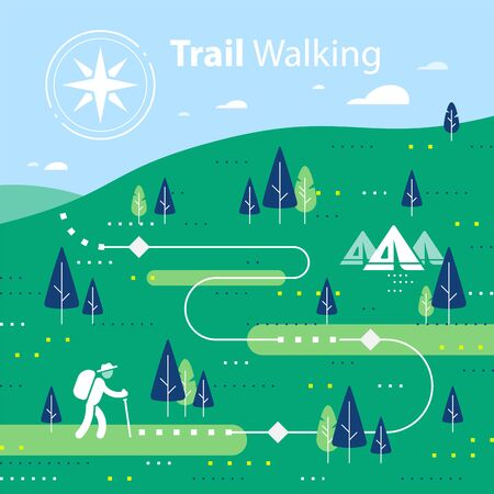 Hiking map, forest trail, running or cycling path, orienteering game, lush landscape with hills and trees, ecological environment, summer park camp, vector flat design illustration Ilustración de vector