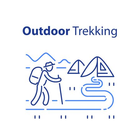 Outdoor trekking concept, nature hiking, natural tourism, ecological path, trail walking, summer camping, cross country hike, wild adventure tour, vector line illustration
