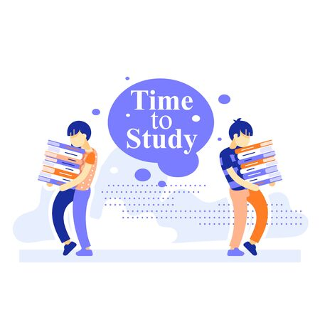 School girl and boy carrying heavy stack of books, loaded with study, hard learning student, exam preparation, extracurricular education, additional educational resources, vector flat illustration