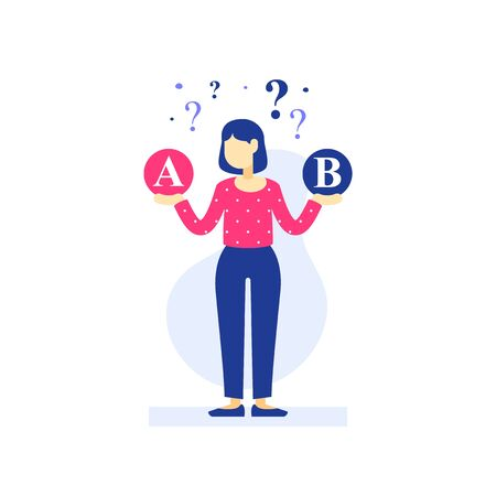 Woman thinking, decision making, difficult choice, choose between two options, considering alternative, customer service, career strategy, questionnaire or survey, vector flat illustration