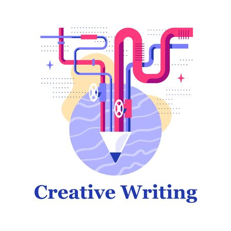 Creative writing, storytelling courses, creativity development, design workshop, education concept, modern art, vector flat illustration