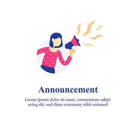 Event announcement, woman holding megaphone and shouting, screaming in loudspeaker, special offer concept, refer a friend, advertisement and marketing, public message, attention info, referral program  イラスト・ベクター素材