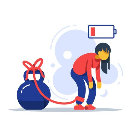 Tired woman tied to kettlebell, exhausted girl, female character feeling powerless, low energy state, physical or emotional burnout, mental fatigue, responsibility overload, stuck in problems