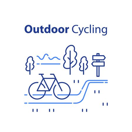 Outdoor cycling concept, riding bicycle trip, nature tourism, summer tour, vector line illustration Vettoriali