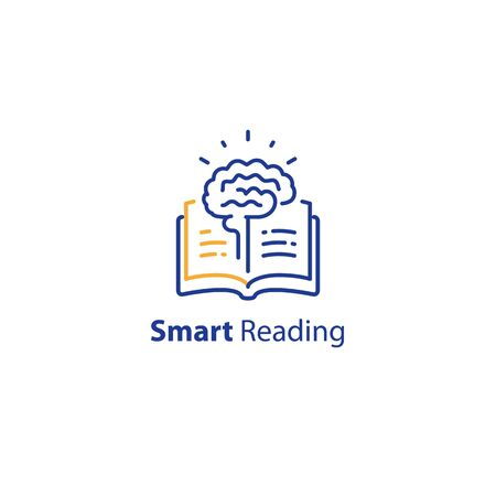 Brain and open book, intellect development, smart thinking, fast reading, summary concept, education course, vector line icon