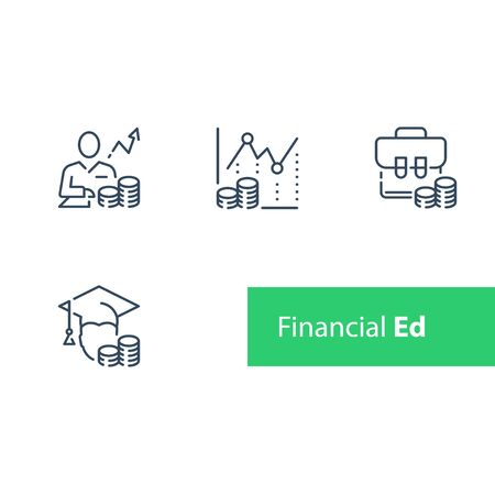 Financial education, stock market analysis and investment course, portfolio strategy adviser, trust management, vector line icon set