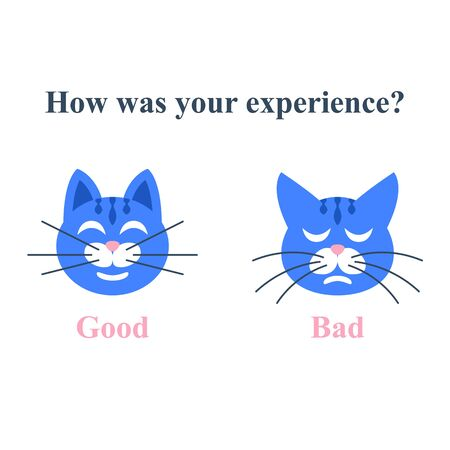 Customer satisfaction survey, service quality assessment, give your feedback concept, opinion survey, good or bad experience, positive or negative rating, sad or happy cat head, vector illustration 向量圖像