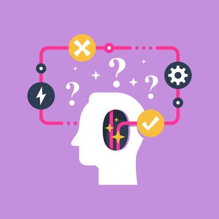 Decision making and behavior, mental trap, false logic circle, logical solution, critical thinking, psychology or psychiatry concept, vector flat illustration Çizim