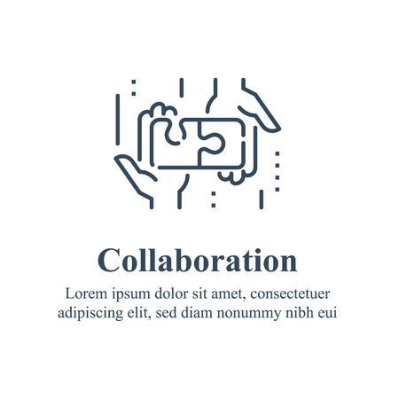 Team work, cooperation or collaboration, unity concept, employee engagement, hand and puzzle jigsaw, simple solution, solving problem, common ground, negotiation agreement, find compromise line icon Illustration