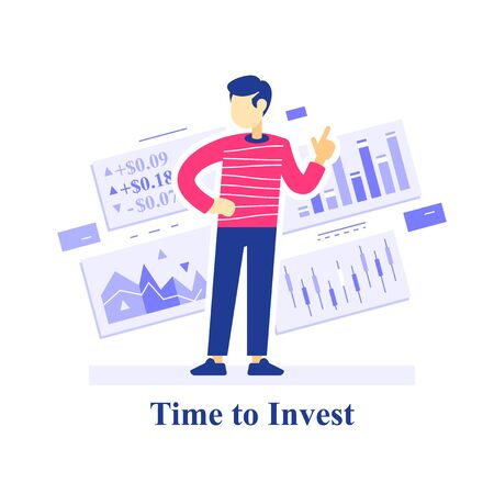 Time to invest concept, successful investment strategy, stock market assessment, learn trading, education course, financial advice or guidance, fund management services, vector flat illustration Vettoriali