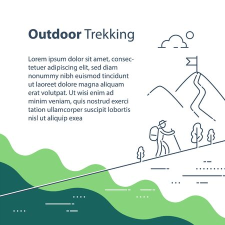 Person uphill trail walking, mountain ascent, summer hiking, outdoor trekking, nature tourism, wild adventure, line drawing, vector linear illustration Illustration