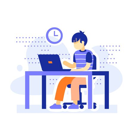 Student sitting at desk, school boy doing homework behind computer, online learning, distant education, internet course, study and research, vector flat illustration
