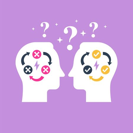 Decision making, negotiation and persuasion, communication skill, false logic circle, logical solution, critical thinking, psychology or psychiatry concept, vector flat illustration Vector Illustratie