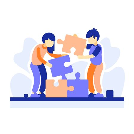 Preschool children playing together, kids cooperation, cognitive development, problem solving, find solution, creative thinking, assemble jigsaw puzzle, talent improvement, vector flat illustration