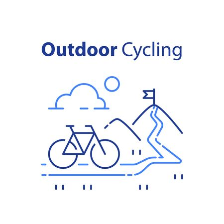 Outdoor cycling concept, riding bicycle trip, nature tourism, summer tour, uphill path, mountain bike, vector line illustration